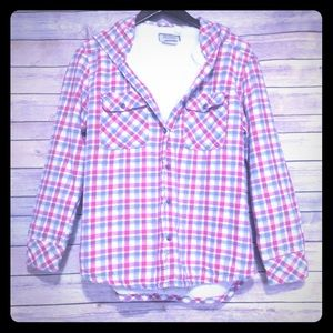 Button up Lined Flannel Hoodie